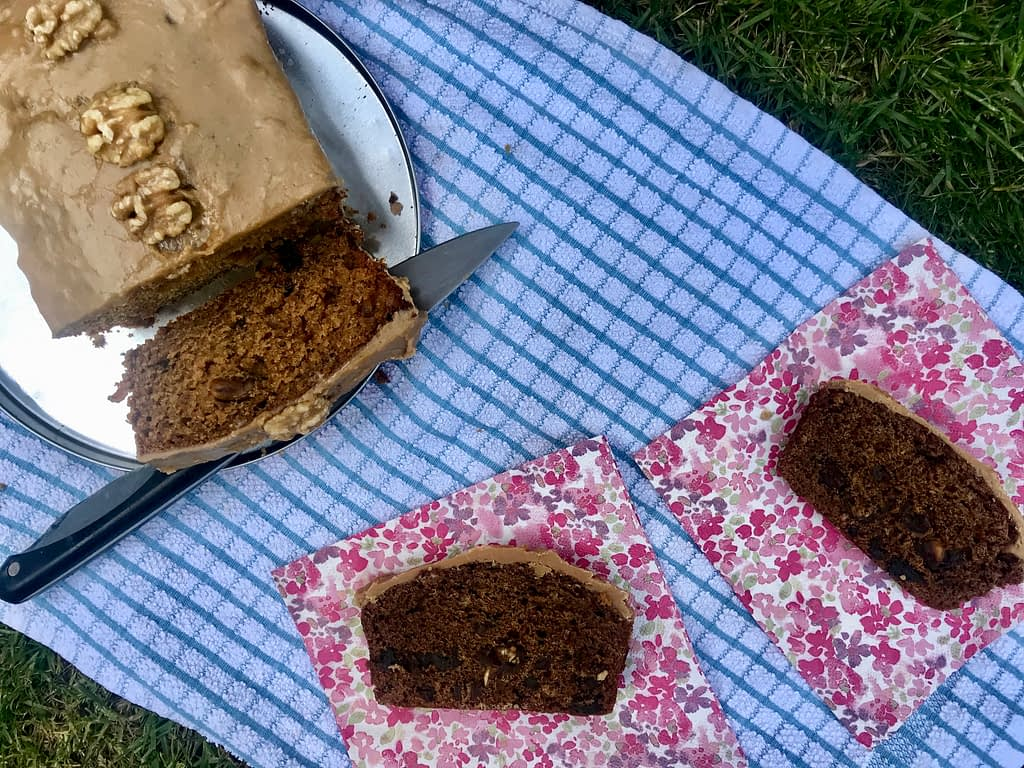 Sticky toffee loaf cake with fudge icing