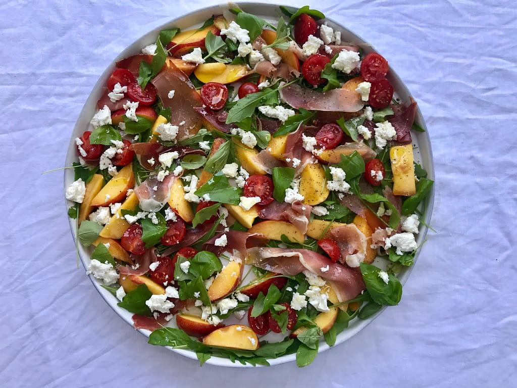 Prosciutto, nectarine, feta and rocket salad