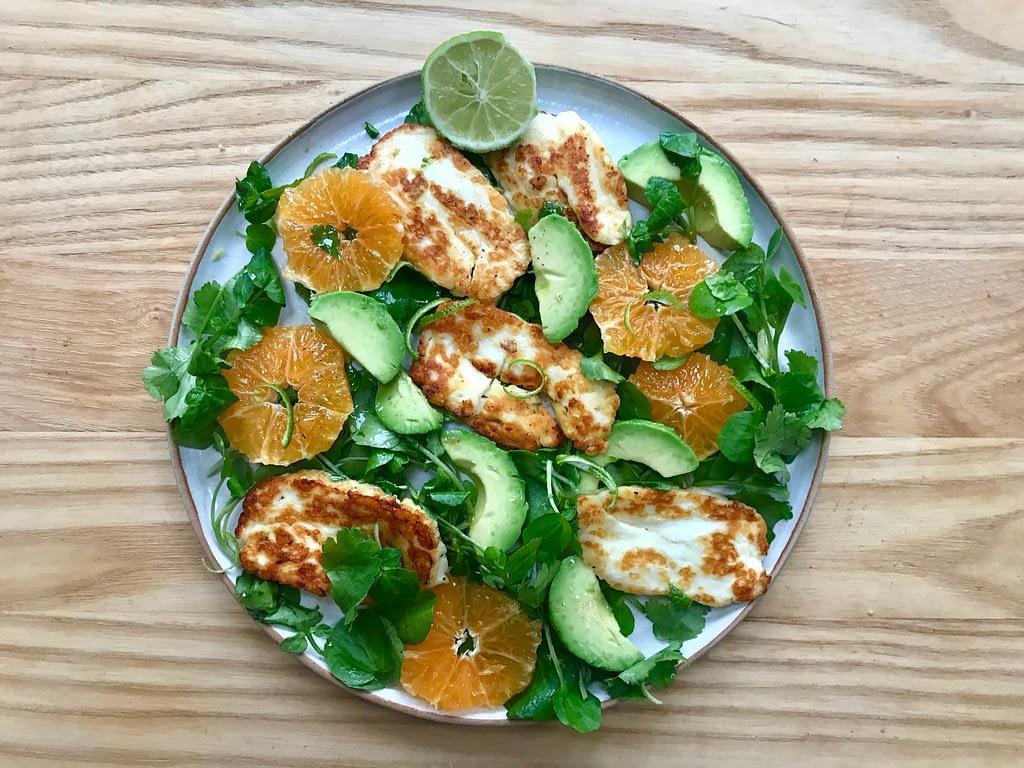 Avocado, orange and halloumi salad