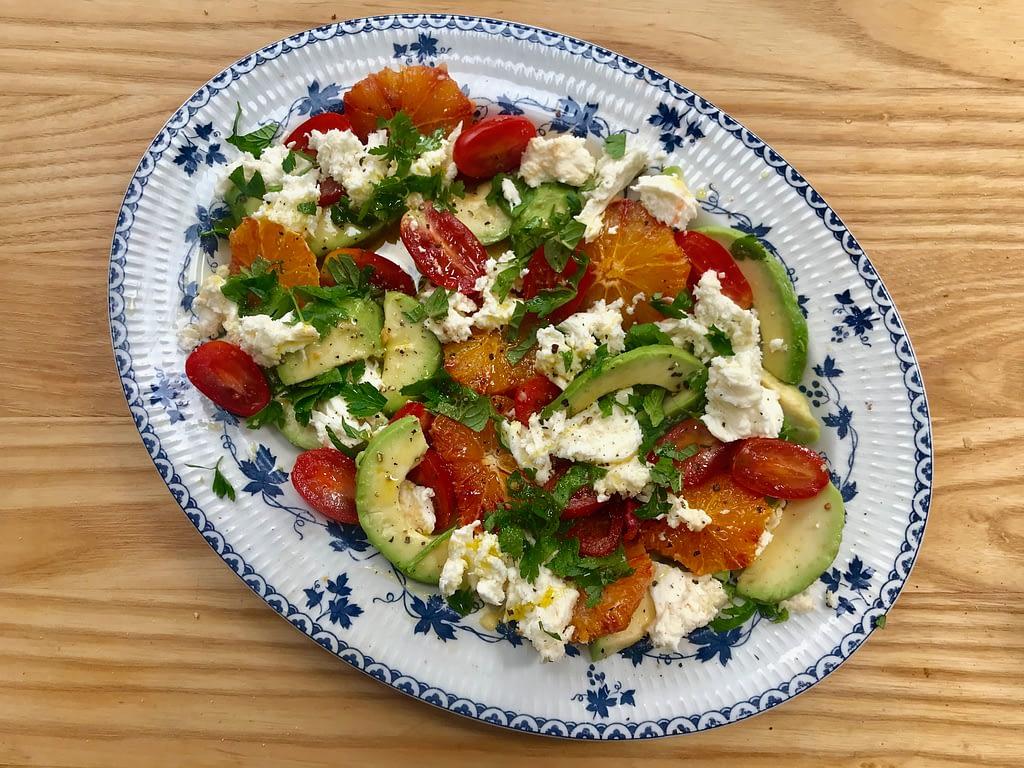 Avocado, orange and mozzarella salad
