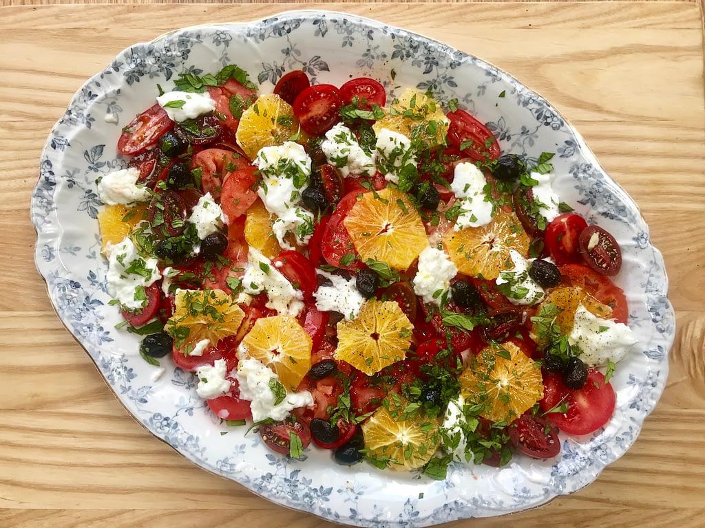 Anne Shooter's tomato, orange and mozzarella salad